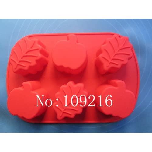 Creativemoldstore 1pcs 6-Holes Pumpkin&Leaves Silicone Cake/Jelly/Puddin/Ice/Candy Baking Pan DIY Mold