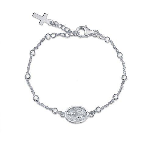 Silver Rosary Beads Mother Mary Medallion Cross Bracelet