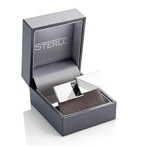 STERLL Men Solid Sterling Silver 925 Cufflinks polished with a black stripe, Gift Set for Men