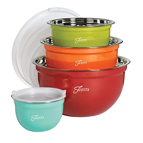 Mixing Dinnerware Bowl - Fiesta 6450S8R 8 Piece Mixing Bowl Set with Lids,