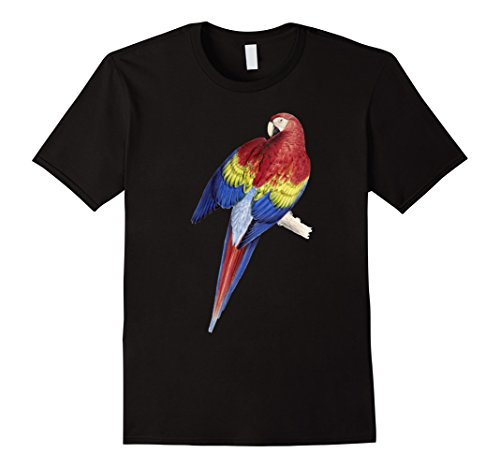 Mens Parrot T-shirt, Scarlet Macaw Tee Jungle Bird Lover Tee Large (Jungle Bird)