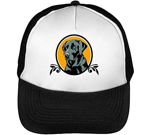 Labrador Portrait Gorras Hombre Snapback Beisbol Negro Blanco
