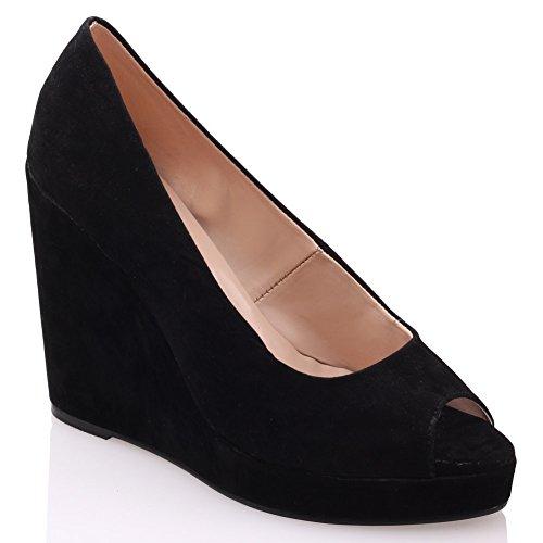 Unze Zapatos de cuña de la plataforma del cuero Mujeres descarado ' Negro