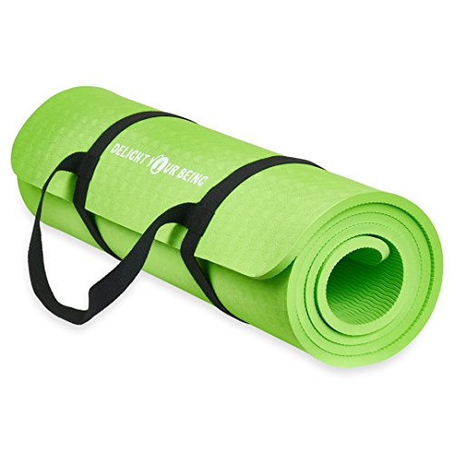 Extra Thick, Eco Friendly Yoga Mat with Carrying Strap for Pilates, Fitness, Exercise and Workout by Delight Your Being