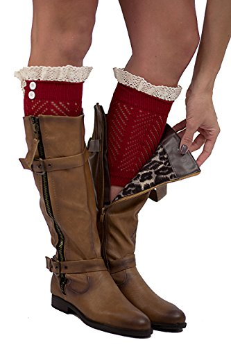The Original 2 Button Lace Boot Cuffs Burgundy by Modern Boho