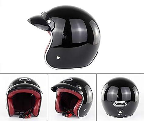XBTIC Casco para Motocicleta D.O.T Certificado Vintage Open Face ...