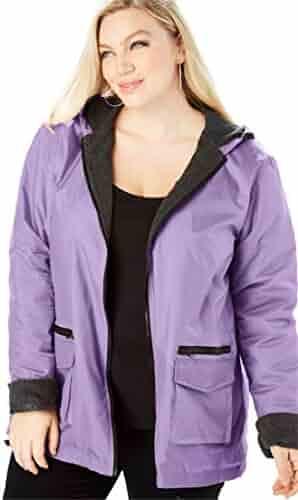 1c7f0cd4c60 Roamans Women s Plus Size Hooded Nylon Jacket with Fleece Lining