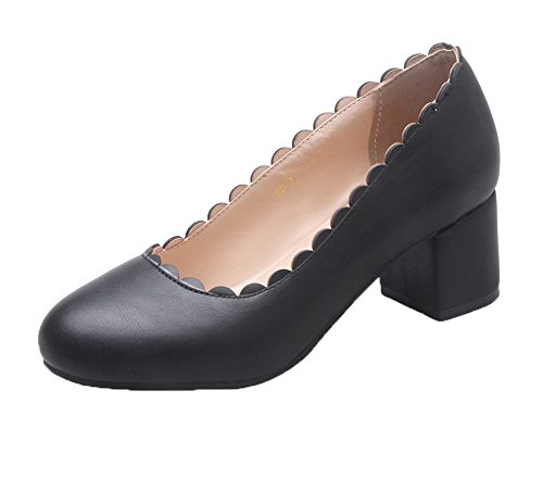 Women's Heels On Round 42 Solid Shoes Toe Black PU Pumps AmoonyFashion Kitten Closed Pull Sd6Aaax