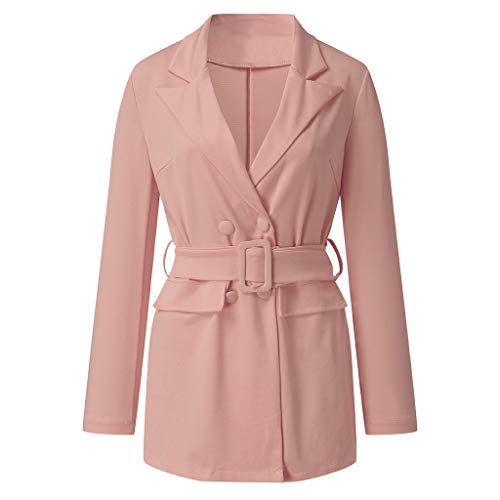 Lovor Womens Sale Double Breasted Pea Coat Lapel Trench Jacket with Belt Buckle Mid-Long Long Sleeve Dresses Outwear(Pink,M)