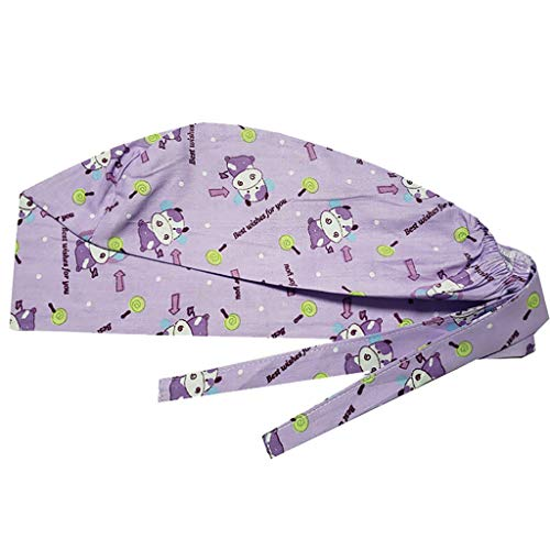 Ghazzi Print Scrub Cap Unisex Nurse Doctor Scrub Cap Surgical Medical Bouffant Adjustable Sweatband Dustproof Work Hat