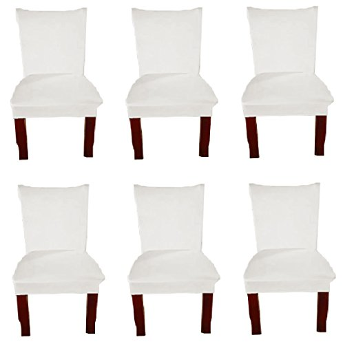 Moonter 6 X Stretch Removable and Washable Spandex/Fabric Dining Room Chair Covers Set, Banquet Slipcover Protector Folding Decoration For Wedding, Party,Ceremony,Hotel (White, Set of 6)