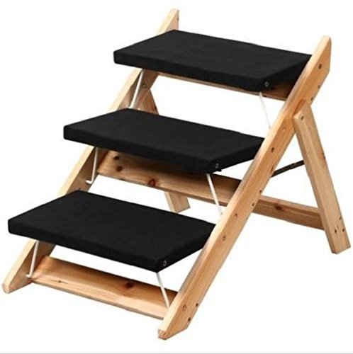 YNshop Worldpride1 Folding 2-in-1 Pet Ramp & Stairs for Dogs Cats Wooden Steps Ladder Animal Portable