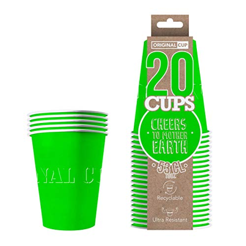 Original Cup - 20 x Paper American Cups 53cl - Party Supplies - Beer Pong Party - Green