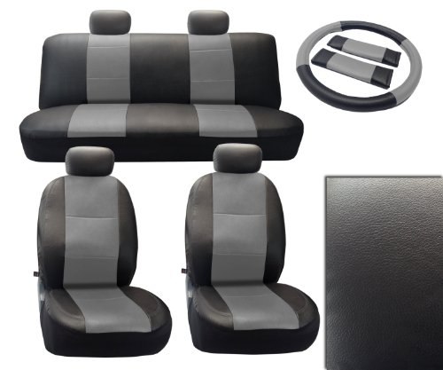 Black/Gray Deluxe Leatherette 13pc Full Car Seat Cover Set Premium Synthetic Leather with Gray Stitching