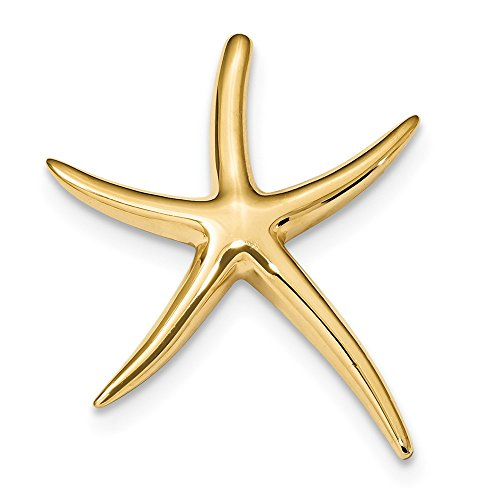 14k Yellow Gold Polished Solid Open Back Fancy Starfish Chain Slide Pendant