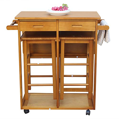 3pcs Dining Table Set with 2 Pub Stools, Mobile Kitchen Island Table with  Drop Leaf Small Wooden Square Breakfast Bar Cart Trolley with Chairs and ...