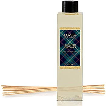 LOVSPA Cinnamon Pinecones Reed Diffuser Oil Refill with Replacement Reed Sticks Fragrances | Woody Pinecones, Fir Needles Cinnamon & Cloves | Replenish You Existing Scent Diffuser