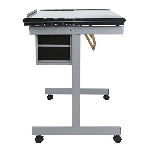 Super Deal Glass Top Adjustable Drawing Desk Craft Station Drafting Table Tempered Glass Top Art Craft w/Drawers and Wheels by SUPER DEAL (Image #4)