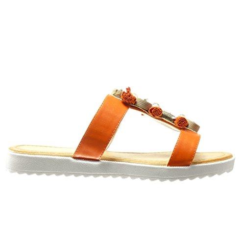 Angkorly Damen Schuhe Sandalen Mule - Schmuck - Fransen - Bommel Flache Ferse 2 cm Orange