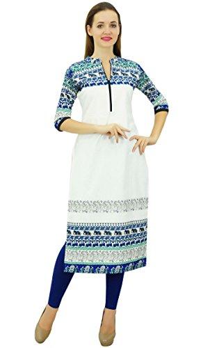 Droite Bleu Montant Kurta Ethnique Kurti Blanc Col Femme et Phagun Robe SqRwE