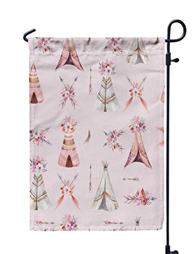 HerysTa Outdoor Garden Flag Decorative Yard Farmhouse Holiday Banner 12 X 18 inches Watercolor Tribal Teepee Pattern Boho America Traditional Native Ornament Double-Sided Seasonal Garden Flags
