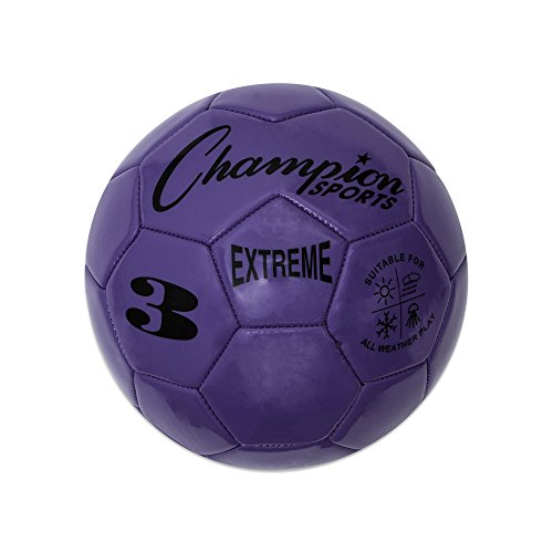 Champion Sports Extreme Series Soccer Ball, Size 3 - Youth League, All Weather, Soft Touch, Maximum Air Retention - Kick Balls for Kids Under 8 - Competitive and Recreational Futbol Games, Purple