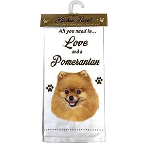 E&S Pets 700-27 Pomeranian Kitchen Towels, Off- Off-white 10