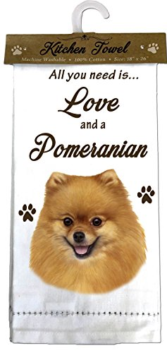 White Pomeranian - E&S Pets 700-27 Pomeranian Kitchen Towels, Off- Off-white