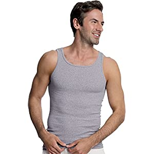 Hanes Men's TAGLESS Ribbed A-Shirt 4-Pack_Assorted_Large