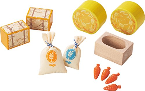 HABA Little Friends Horse Feed Play Set Accessories - Includes Hay Bales, Oats, Carrots & Feeding Trough