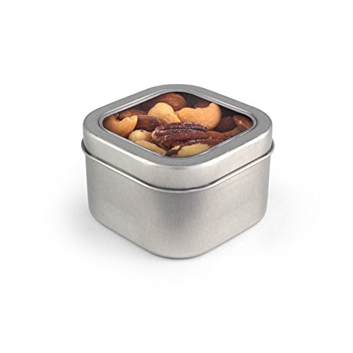 Deluxe Mixed Nuts, Square Window Medium Tin 48ct/5oz by In-Room Plus, Inc.
