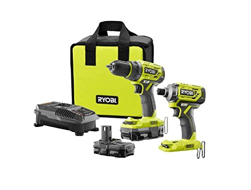 Ryobi 18-Volt ONE+ Lithium-Ion Cordless Brushless Drill/Driver-Impact Driver 2-Tool Kit w/(2) 1.3 Ah Batteries, Charger, by Ryobi