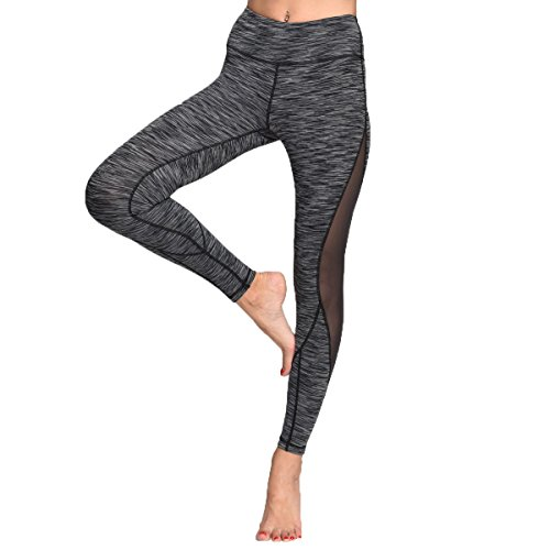 Chikool Women Grey Mesh Yoga Pants Hidden Pocket Gym Capri Leggings Tights Women Workout Leggings Activewear Pants (Grey , M)