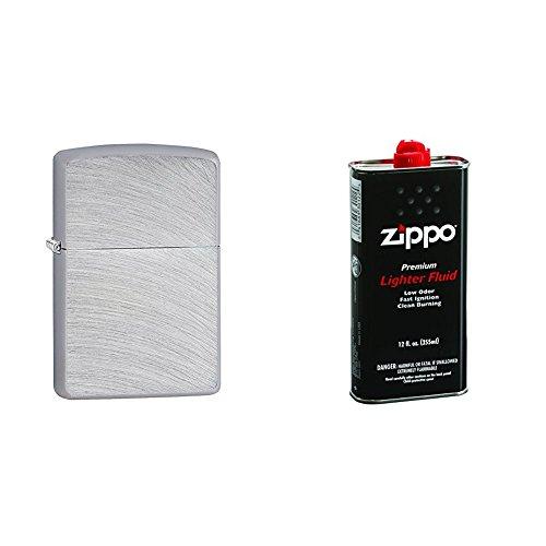 (Zippo Chrome Arch Pocket Lighter w/ Zippo 12 oz. Lighter Fluid)