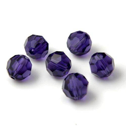 (24 pcs 8mm Swarovski Crystal Round Beads 5000, Purple Velvet, SW-5000)