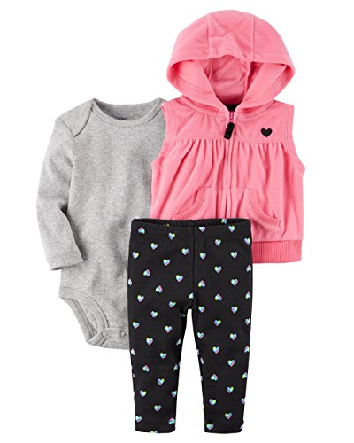 Carters Baby Girls' 3-Piece Vest Set, Pink