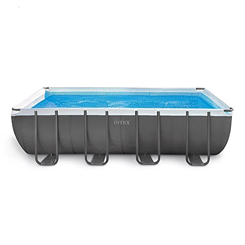 Intex 18ft X 9ft X 52in Ultra Frame Rectangular Pool Set with Sand Filter Pump, Ladder, Ground Cloth & Pool Cover