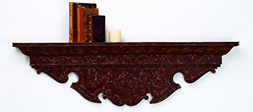 Amazing Decor Hand Painted Brown Taupe Iron Wall Shelf with Decorative Tole Accents