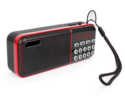 Mini FM Radio, Warmhoming Portable Pocket USB FM Radio Speaker Music Player Micro SD/TF Card for PC/Phone (Red 2)