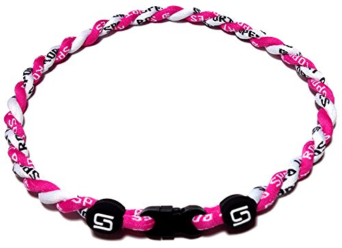 Sport Ropes 2 Rope Titanium Necklace (Pink/White, 18