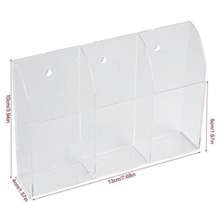 1 Grid Acrylic Clear Air Conditioner TV Remote Control Holder Case Storage Box Wall Mount Case Desk Organizer Makeup Container