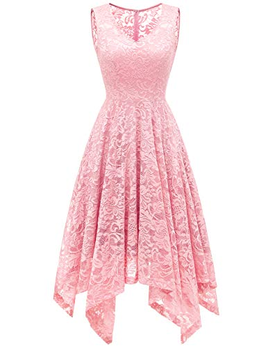Meetjen Women's Elegant Floral Lace Sleeveless Handkerchief Hem Asymmetrical Cocktail Party Swing Dress Pink ()