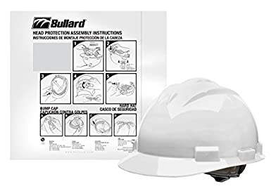 Bullard HH61WHR-VPD6 4-Point Ratchet Suspension Cap Style Hard Hat, Polyethylene, Adjustable, White (Pack of 6): Amazon.com: Industrial & Scientific