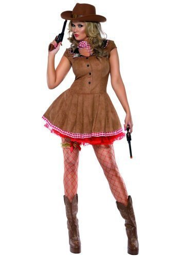[Fancy Me Women's Fever exy Cow Cow Indian Western Gunslinger heriff Fancy 16-18 Brown] (Woman Gunslinger Costume)