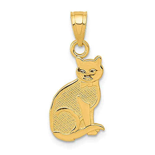 14k Yellow Gold I Heart My Cat On Reverse Pendant Charm Necklace Animal Fine Jewelry Gifts For Women For Her