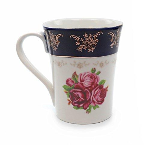 Royalty Porcelain Tea Cup/Mug, 24K Gold Czech Porcelain (1, Cobalt Blue Floral Red)