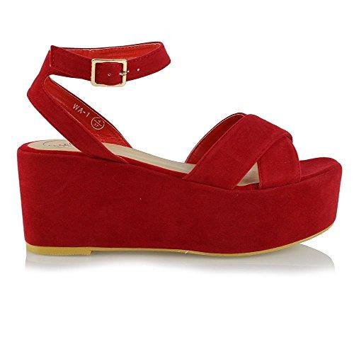 Plateau ESSEX GLAM Keilabsatz Rot Wildlederimitat Schuhe Sandalen Offene Schnalle Knöchelriemen mit Damen Zehen FftSwf