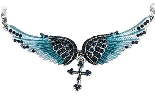 Szxc Jewelry Women's Crystal Guardian Angel Wings Cross Choker Pendant Necklaces 18