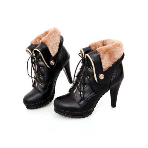 Bedel Voet Mode Dames Platfrom Hoge Hak Western Laarzen Martin Laarzen Winterlaarzen Zwart