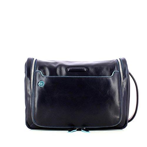 Piquadro Move 2 Beauty Case da Viaggio, Pelle, Blu, 30 cm